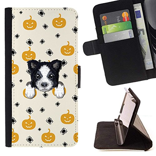 [ BORDER COLLIE ] Embroidered Cute Dog Puppy Leather Wallet Case FOR LG K4 (2017) / LG K8 (2017) / LG Aristo/LG Phoenix 3 / LG Risio 2 / LG Fortune [ Halloween Pumpkin Pattern ] ()
