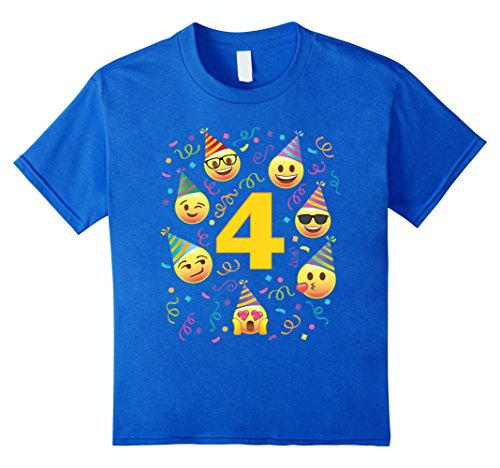 Kids Cute Four Year Old 4 Emoji Birthday Party Faces Hats TShirt 4 Royal Blue - Happy Face T-shirt