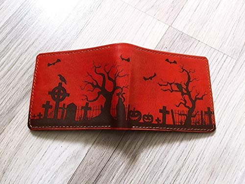 Unik4art - Personalized Haunted House Halloween leather handmade men wallet engrave gift