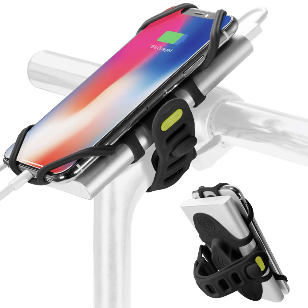 2-in-1 Portable Charger Bike Phone Mount, Bicycle Stem Handlebar Power Bank Cell Phone Holder for iPhone Xs Max XR X 8 7 Plus Samsung Galaxy S10 S9 S8 Note 9 Smartphone, Bike Tie Pro-Pack (Black) by Bone