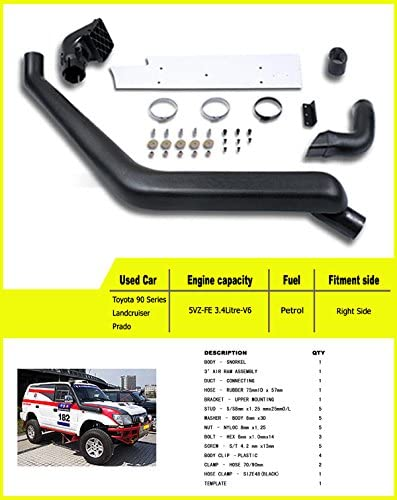 Liquor Car New for 1990 1991 1992 1993 1994 1995 1996 1997 Toyota 80 series Landcruiser//Lexus LX450 Air Ram Intake Snorkel Kit Set