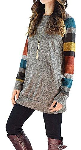 pinupart-womens-color-block-long-sleeve-sweatshirt-cotton-jersey-tunic-tops