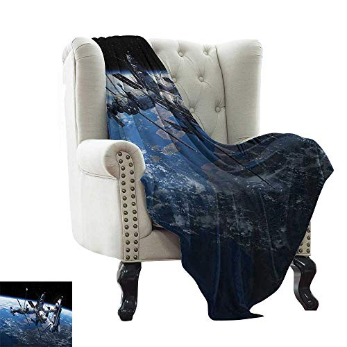 Globe Adventure Dora - LsWOW Chunky Knit Blanket Outer Space,Space Shuttle and Station View Cosmonaut Adventure on Myst Globe Orbit Off,Blue Grey Black for Bed & Couch Sofa Easy Care 60