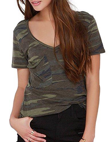 haoyihui Womens Longer Jersey Camo Camouflage Crew Tee T-Shirt (L)