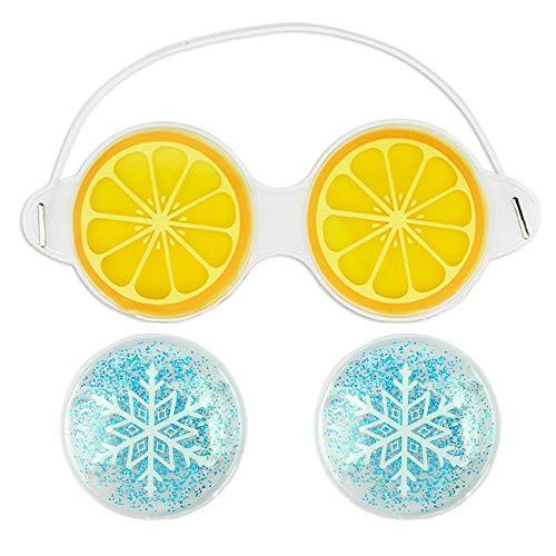 (Gel Eye Mask, Soothing Gel Pads for Puffy Eyes, Eye Mask and Eye Pads Set, Gift for Man, Woman, Boys, Girls (1Orange Mask+2 Snow Pads))