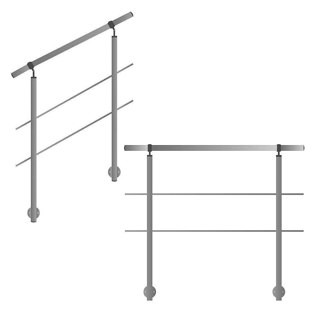 Gel/änder f/ür seitliche Montage an Treppen Balkone und Terrassen mit waagerechten Streben 180 cm mit 2 Pfosten und 2 Querstreben 30mm