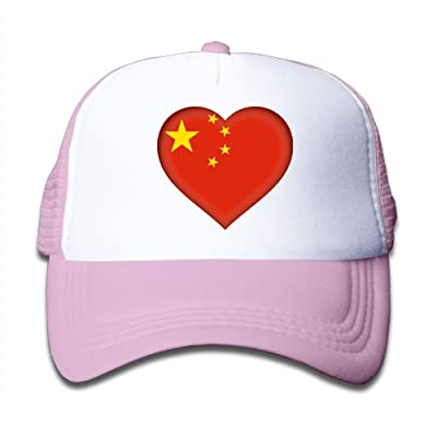 490de9da321 Asia China Flag Heart Mesh Caps Adjustable Plain Hip Hop Hats For Boys Girls