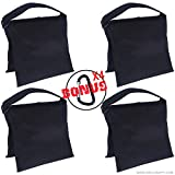 Super Heavy Duty AbcCanopy SANDBAG SADDLEBAG DESIGN 4 WEIGHT BAGS FOR PHOTO VIDEO STUDIO STAND (black)