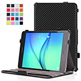 MoKo Samsung Galaxy Tab A 8.0 Case - Slim-Fit Multi-angle Folio Cover Case for Galaxy Tab A 8.0 Tablet SM-T350, With Auto Wake / Sleep and Stylus Pen Loop, Carbon Fiber BLACK