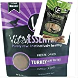 Vital Essentials Freeze-Dried Turkey Mini Patties, 1 lb Bag Freeze Dried Raw Dog Food, 1-5 Pack Vital Essentials Freeze Dried Bully Sticks Dog Treat, Fast