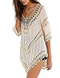 BellyLady Women Summer Bikini Crochet Smock Beach Cover Up Knitted Tops