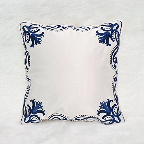 HOMEE New Chinese American Modern Embroidery Manually Blue Sofa Bed Pillow Cushion Car Floating Window Panels on the Package ,30X50Cm,Csbu-20490 between,Cmwh-20610,45x45cm by HOMEE