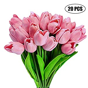 Gooteff Artificial Flowers Set of 20 Pcs Silk Tulip Flower Bouquet Natural Touch Plants for Wedding Party Home Hotel Event Decoration (Pink) 104