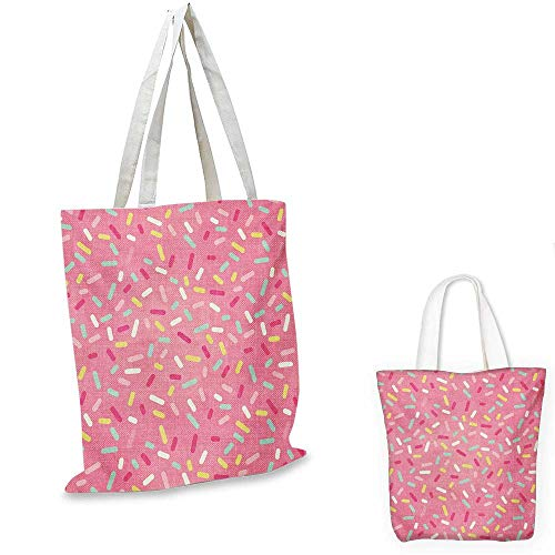 Pink and White shopping tote bag Abstract Pattern of Colorful Donut Sprinkles Sweet Tasty Food Bakery Theme travel shopping bag Multicolor. 16