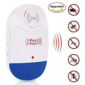 Ultrasonic Pest Repeller ,Pest Conrol, Electronic Plug In Repellent for Insects, Roaches , Flies, Ants, Spiders, Mice, Bugs, Non-toxic, Environment-friendly, Humans & pets safe