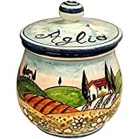 CERAMICHE D'ARTE PARRINI- Italian Ceramic Brings Garlic Jar Holder Hand Painted Decorated Sunflowers Tuscan Landscape Made in ITALY Tuscan Art Pottery