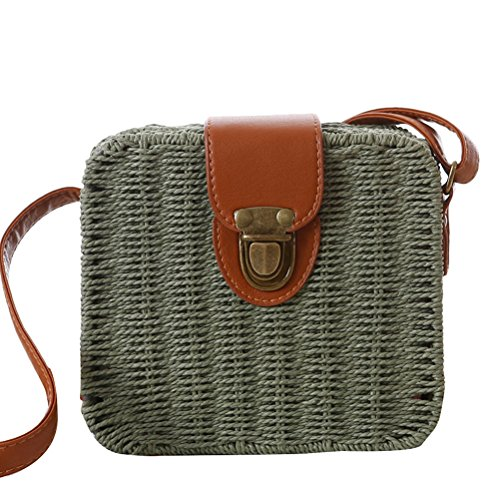 Zhuhaitf Ventas calientes High Quality Womens Candy Color Small Square Box Messy Woven Bag Beach Bags Simple Army Green