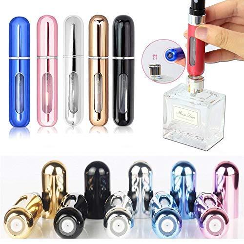 Perfume Bottle - Delaman 5X 5ml Travel Portable Mini Refillable Perfume Atomizer Bottle, Scent Pump Spray (Random Color)