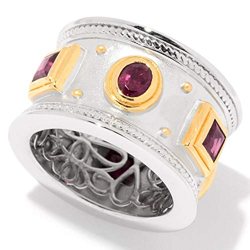 Ring Etruscan Style (Pinctore Sterling Silver Two-tone Rhodolite Etruscan Wide Band Ring)