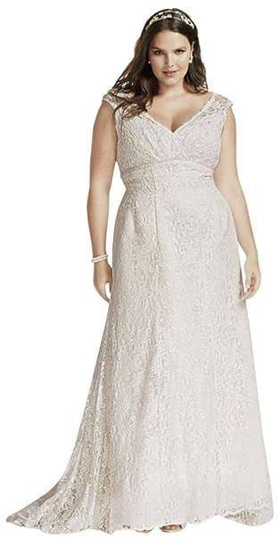Beaded Cap Sleeve Lace Plus Size Wedding Dress Style 9T9612 ...