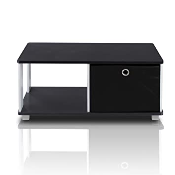 Furinno 99954bk Bk Coffee Table With Bin Drawer Black White