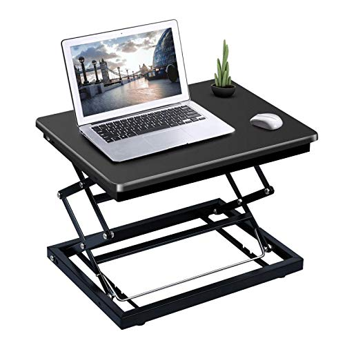 Standing Desk, Sit to Stand Laptop Table 3 Level Height Adjustable Stand Up Desk Portable Sit Stand Computer Converter Riser Desktop Workstation Foldable Free Assemble for Laptop Office/Home(Black) ()