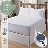 Serta Luxurious Sherpa Top Low-Voltage Electric Heated Mattress Pad, California King, White