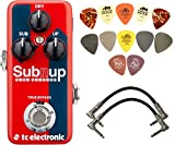 TC Electronic Sub 'n' Up Mini Octaver Effects Pedal BUNDLE w/ 2 Patch Cables and Dunlop PVP101 Pick Pack