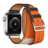 Leather Double Tour Band Strap Replacement Smartwatch Wristband Bracelet Compatible with 44mm Apple Watch Series 4, 42mm Apple Watch Series 3/2/1 (Indigo/Craie/Orange)