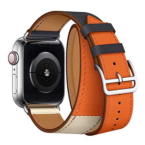 Leather Double Tour Band Strap Replacement Smartwatch Wristband Bracelet Compatible with 44mm Apple Watch Series 4, 42mm Apple Watch Series 3/2/1 (Indigo/Craie/Orange) (Bracelet Watch Double)