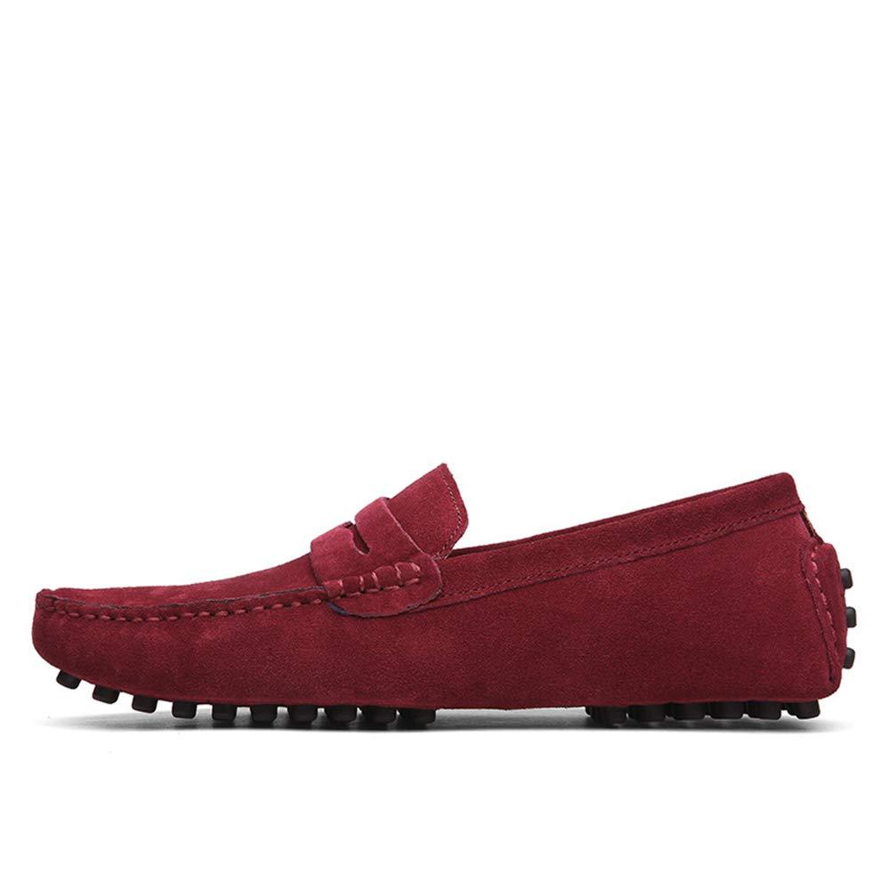 Fuxitoggo Mode-Leder-Müßiggänger für Männer, die Beleg auf bequemen klassischen großen Rot, Stiefelschuhen Fahren (Farbe : Rot, großen Größe : EU 41) - 2d547f