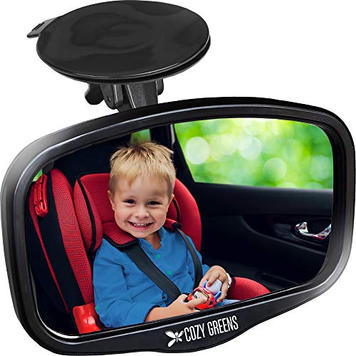 COZY GREENS Baby Car Mirror for Windshield - Compact Rear View Mirror - Rearview Infant Forward Facing in Back Seat - 100% Lifetime Satisfaction Guarantee - Shatterproof - Backseat Carseat (S)