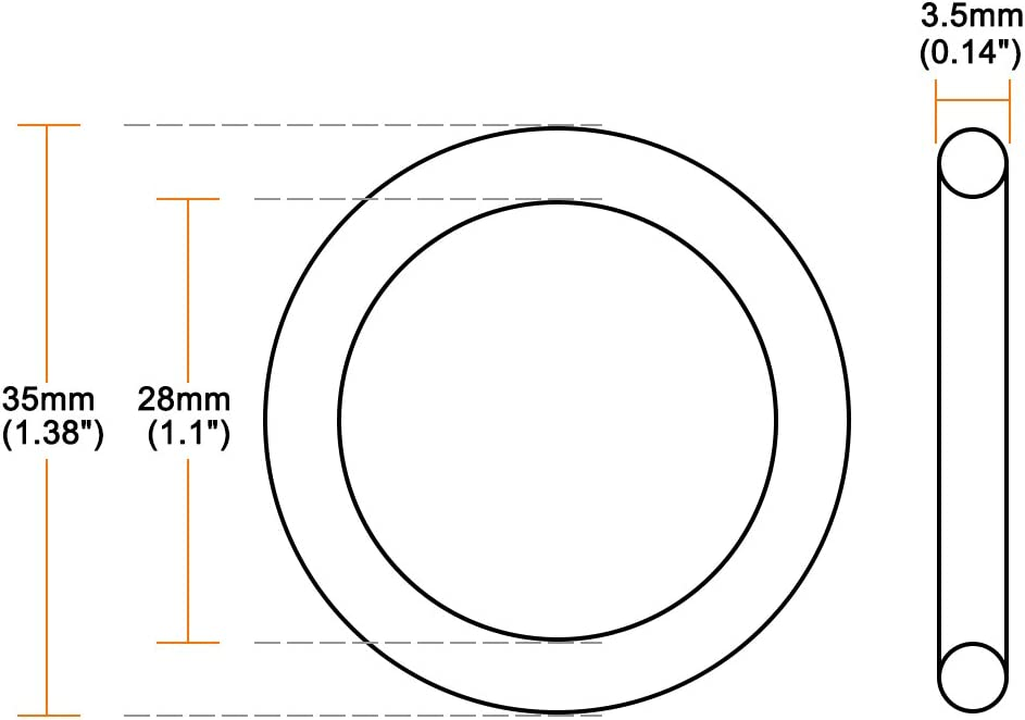 sourcing map 10pcs O-Ringe Nitrilkautschuk 28mmx35mmx3.5mm Dichtungsringe Abdichtung Dichtung DE de