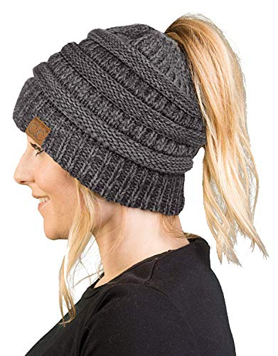 Graphite Tail - BT-6800-6221 Messy Bun Womens Winter Knit Hat Beanie Tail - Graphite Grey