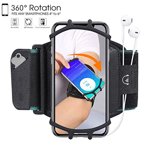 (HC Running Armband,360°Rotatable Sports Armband for iPhone X/iPhone 8 Plus/ 8/7 Plus/ 6 Plus/ 6, Galaxy S8/ S8 Plus/ S7 Edge, Note 8 5, Google Pixel,Phone Armband for Hiking Biking)