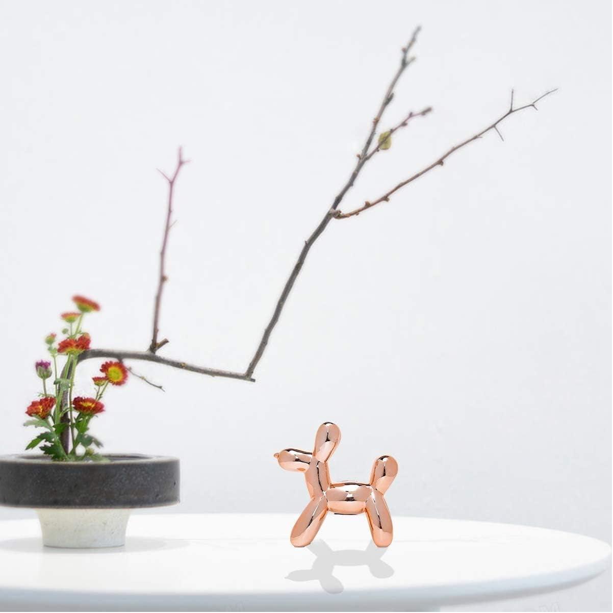 Balloon Dogs Sculpture - Ceramic Animal Figurine - Art Statue - Desktop Dog Decor - Small-Rose-Gold