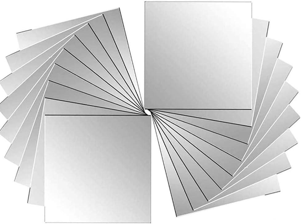 Ikruidy Espejos autoadhesivos 32 Piezas Azulejos de Espejo de Pared 15 x 15 cm Espejos de plástico Azulejo para Decorativos de Pared