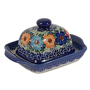 Traditional Polish Pottery, Handcrafted Ceramic Butter Dish with Lid, Boleslawiec Style Pattern, B.102