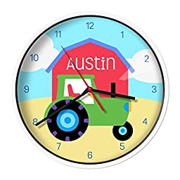 Olive Kids Personalized Tractor Clock with White Case