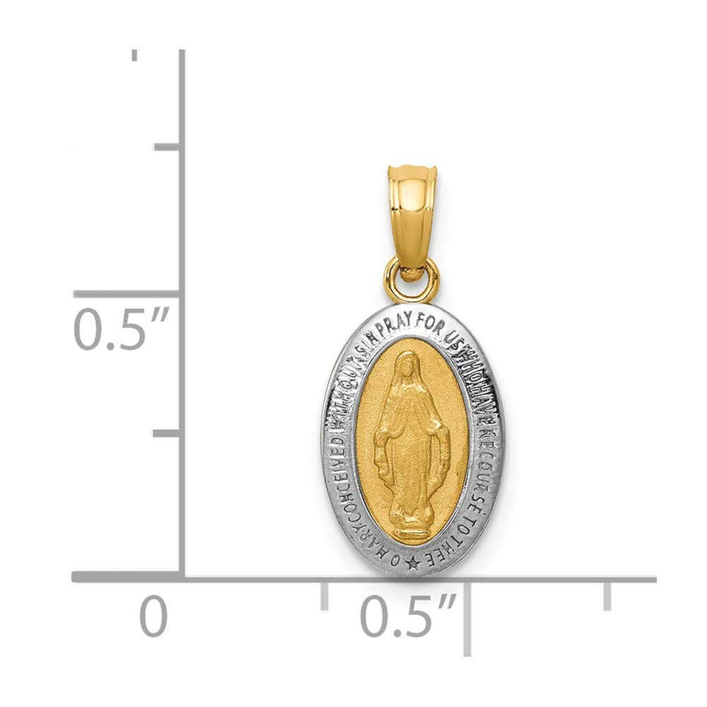 PicturesOnGold.com 14K Yellow Gold with Rhodium Miraculous Medal Charm 1//4 Inch X 1//2 Inch in 14K Yellow Gold