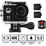 4K WIFI Action Camera, KKCITE Ultra HD Waterproof Sports Cam DVR Camcorder 17MP Wide Angle Sports Video Camera With 2.4G Remote Control/100 Feet Underwater and Tons of Accessorie