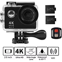 4K WIFI Action Camera, KKCITE Ultra HD Waterproof Sports Cam DVR Camcorder 17MP Wide Angle Sports Video Camera With 2.4G Remote Control/ 100 Feet Underwater and Tons of Accessorie