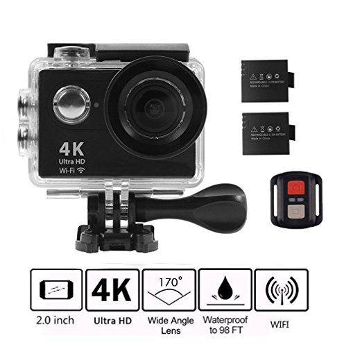 4K WIFI Action Camera, KKCITE Ultra HD Waterproof Sports Cam DVR Camcorder 17MP Wide Angle Sports Video Camera With 2.4G Remote Control/ 100 Feet Underwater and Tons of Accessorie by kkcite