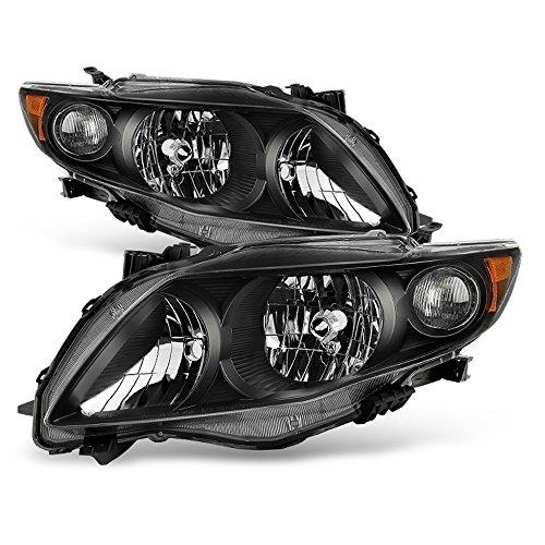Toyota Corolla Xrs - ACANII - For 2009-2010 Toyota Corolla S/XRS Blk Headlights Amber Reflector Headlamp 09-10 Driver + Passenger Side