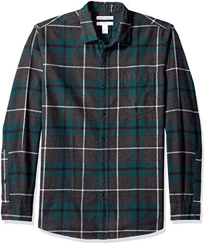 Amazon Essentials Men's Slim-Fit Long-Sleeve Plaid Flannel Shirt, Green/Charcoal Heather, Medium