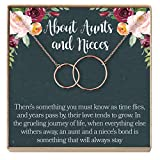 Dear Ava Aunt-Niece Necklace: Aunt-Niece Gift, Aunt-Niece Jewelry, Aunt-Niece Quotes, Aunt Necklace, 2 Interlocking Circles (rose-gold-plated-brass, NA)