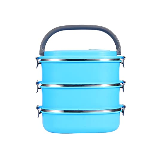 Yosoo – Tartera portátil para alimentos, de acero inoxidable, con asa, para comida, caja de almacenamiento para alimentos, azul, 3 Etage
