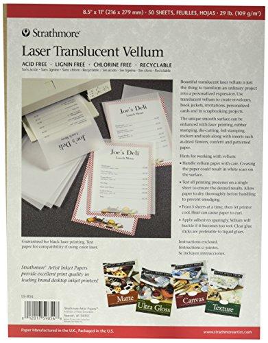 """Strathmore 59-854 Laser Vellum Inkjet Paper, 8.5""""x11"""", 50 Sheets"""