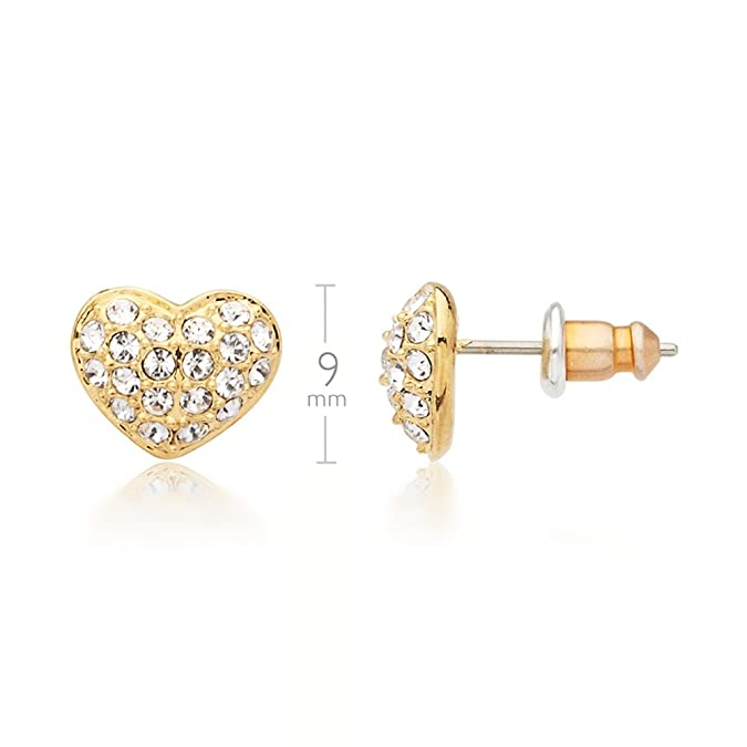 MYJS Alana 16k Gold Plated Pave Heart Stud Earrings with Clear Swarovski Crystals EqMkG