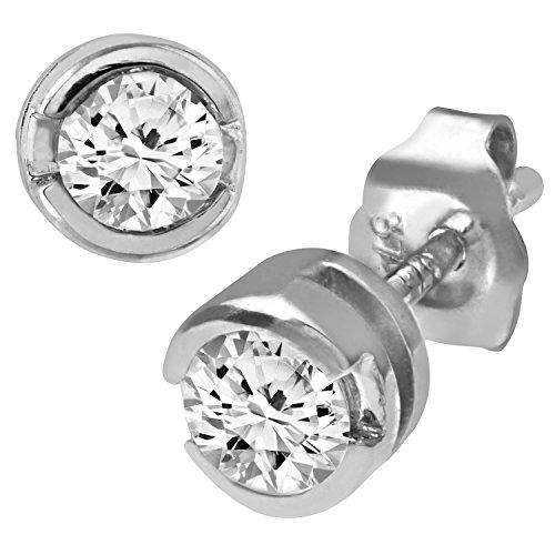 Revoni Bague en or blanc 9carats-Rub de troisième carat Diamant Boucles d'oreilles